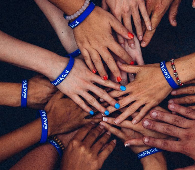 Group of hands joined together